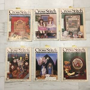Lot-of-6-Cross-Stitch-amp-Country-Crafts-Magazines-1987-Complete-Projects-Samplers