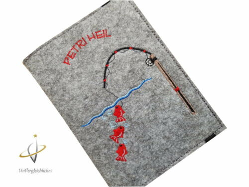 Hülle Filz Angelpapiere Angelausweis Angelpass Dokumentenmappe Angelschein Mappe