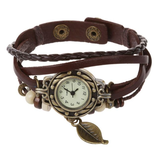 Retro Lady Women Wrap Around Quartz Leather Band Bracelet Bangle Watch N3 Coffee