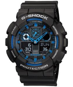 Casio-G-Shock-Analogue-Digital-Mens-Black-Blue-XL-Series-Watch-GA-100-1A2-GA-100