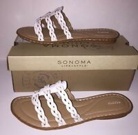 Sonoma Life+style Women's Willow Thong Sandals Shoes white Size 9m In Box