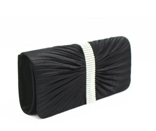 Satin Diamante Ruffle Party Prom Bridal Evening Clutch Bag Shoulder UK Vincenza