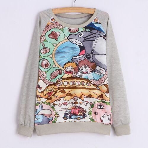 Kawaii Clothing Ropa Sweatshirt Sudadera Totoro Anime Manga Harajuku Ghibli Gray