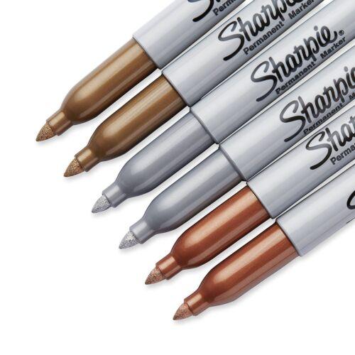 BRAND NEW #1829201 Sharpie 6-pack Fine Tip Metallic Markers Gold Bronze Silver