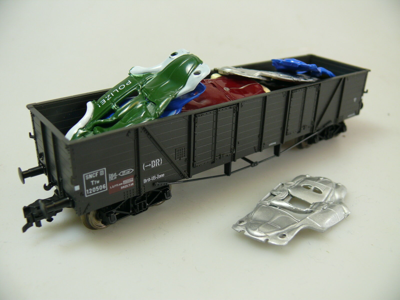 H0 Fleischmann 83 5264 K ALTA BORDO carrello Brit-US zona carico' : AUTO rottami' , T .