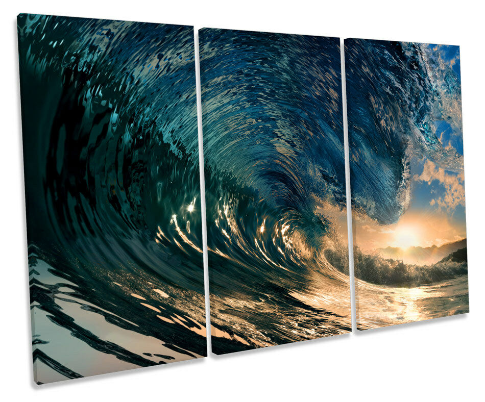 Crashing Beach Wave Surf TREBLE CANVAS WALL ART Box Box Box Framed Picture e70630