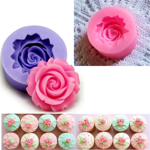 Mini Rose Flower DIY Fondant Cake Chocolate Sugarcraft Mold Cutter Silicone Tool
