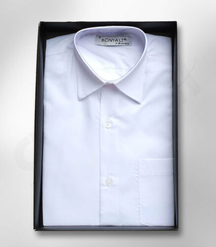 Pagina Ragazzo Bianco Colletto Classico Formale Camicia WEDDING Prom AGE 1yrs a 16 anni