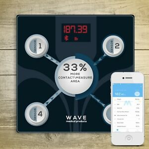 Details about WAVE MEDICAL Advanced Bluetooth Smart Body Fat Bathroom Scale  w/ Smartphone App