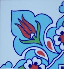 "Light Blue 4""x4"" Raised Iznik Ceramic Daisy & Tulip Pattern Tile Border Corner"
