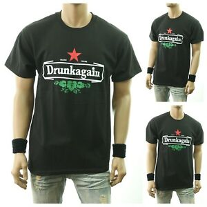 319f23a09 Image is loading Funny-Drinking-Graphic-T-Shirt-DRUNKAGAIN-Printed-Fashion-