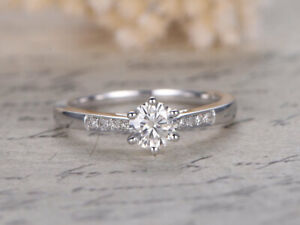 0.56 Ct Round Cut Real Moissanite Anniversary Ring 14K Solid White Gold Size 4 5
