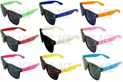 Mens Womens Wayfarer Sunglasses Coloured Arms Men 80s Classic Retro Sunnies