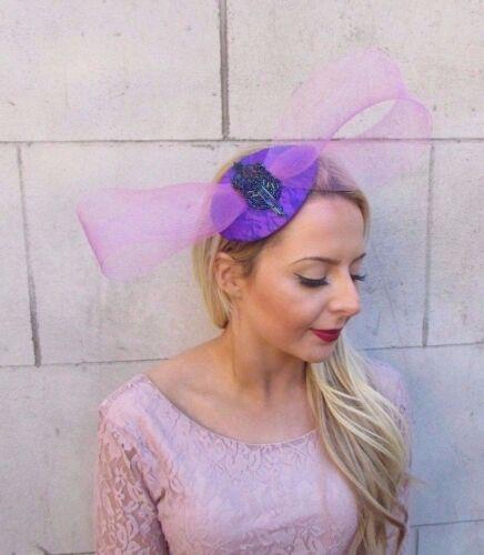Lilac Light Purple Blue Bow Teardrop Fascinator Hair Clip Cocktail Races 4387