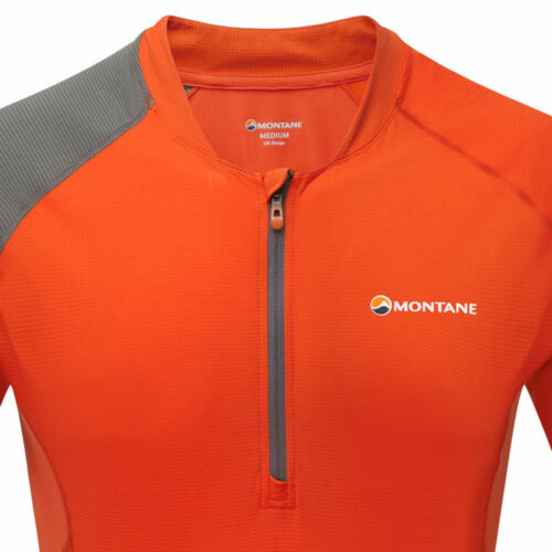 Montane Mens Fang Zip T Shirt Tee Top Red Sports Outdoors Breathable Lightweight