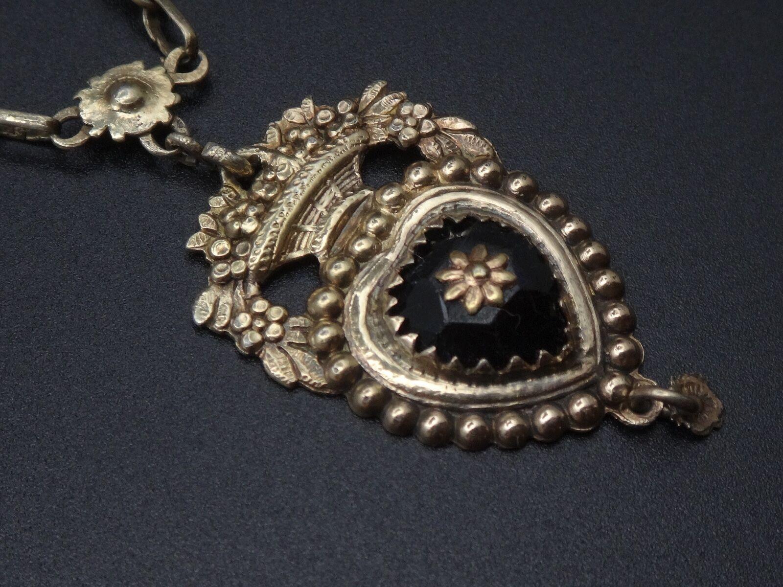 Rare Rare Rare ancien collier regional en argento massif vermeil et jais pendentif coeur 365f52