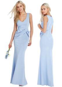 Goddess-Long-Blue-Gathered-Drape-Bow-Sleeveless-Evening-Prom-Party-Maxi-Dress