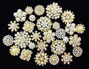 10-Mixed-Gold-Flat-Back-Button-Crystal-Pearl-Rhinestone-Embellishment-Button