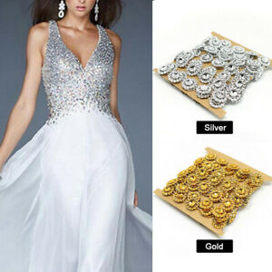2Yd-DIY-Rhinestones-Trim-Crystal-Beaded-Chain-Applique-Sew-Iron-On-Bridal-Dress
