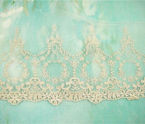 Vestido de novia Ribete De Encaje Tul Bordado cinta ribete plateado boda Hágalo usted mismo Floral