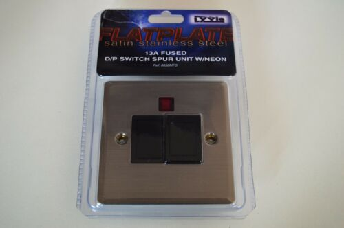 FLATPLATE SOCKETS//SWITCHES//DIMMERS// SATIN STAINLESS STEEL BLACK INSERT