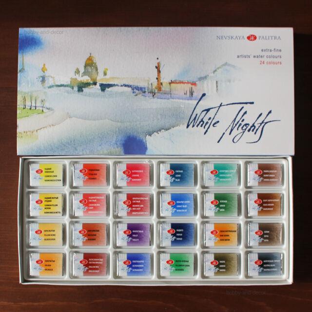 24 White Nights Watercolor Professional Paint Set Russian Nevskaya Palitra