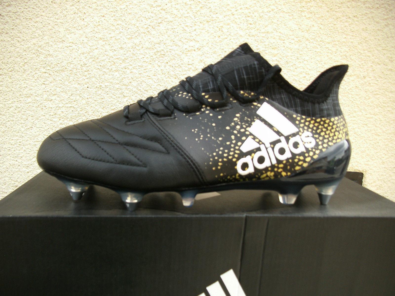 Details zu Adidas X16.1 SG Fussball Schuh Leder Stellar Leather schwarz gold UK 7 EU 40 23