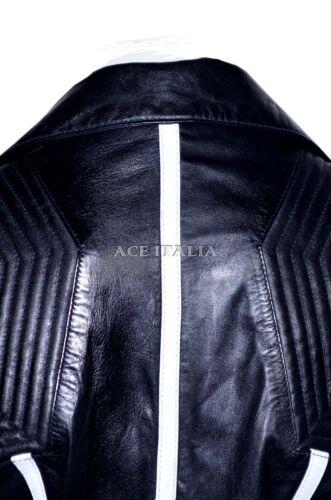 Ladies Black White Biker Casual Style Designer Real Italian Leather Jacket 6027