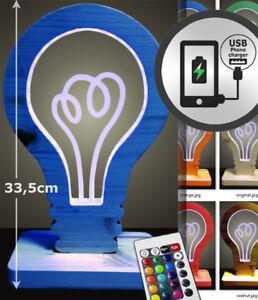 Lampada-comodino-LED-RGB-legno-USB-carica-cellulare-colori-dimmer-telecomando