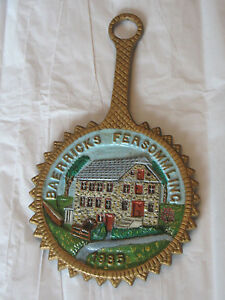 Vintage-1985-Cast-Iron-Trivet-PA-Dutch-Old-Mill-Hand-Painted-Reidenauer-Kutztown