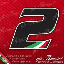 Adesivo Stickers NUMERO 2 moto auto cross gara Nero & Tricolore