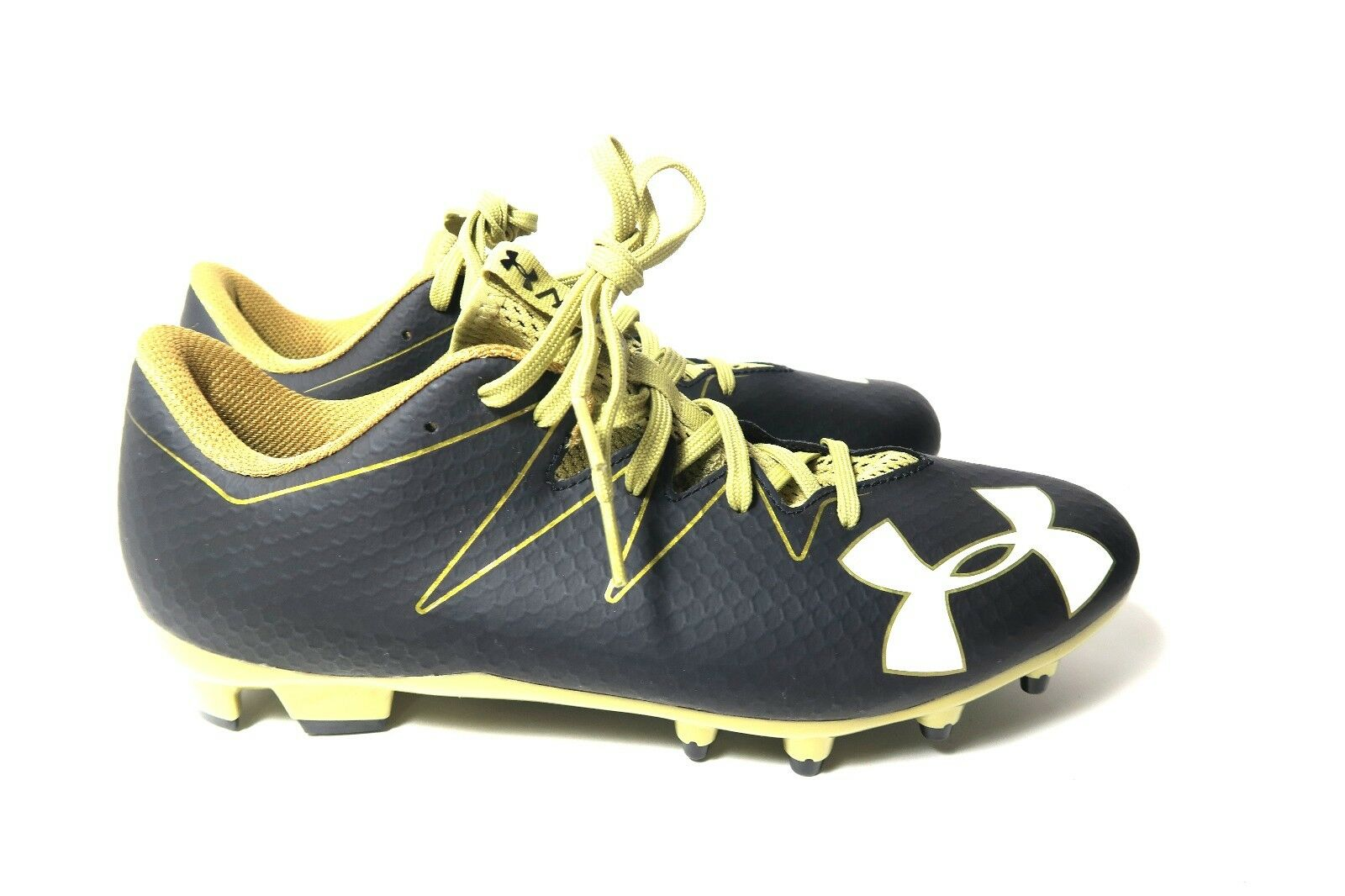 New UNDER ARMOUR UA Mens Sz 10.5 Low Football Cleats 1287492  NITRO Black Gold