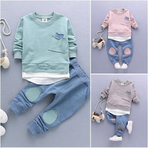 2PC-Baby-Boys-Clothes-Outfit-Infant-Kids-Shirt-Tops-Pants-Clothing-Autumn-Summer