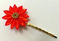 Kyoto GionGeisha RealSilk Chrysanthemum Hana Kanzashi Hair Clip: Orange/Red B