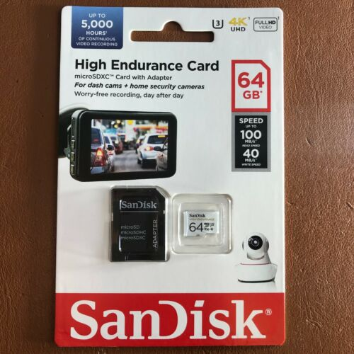 SanDisk 64GB High Endurance Video Monitoring Dash Cam Micro SDXC Memory Card