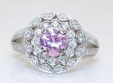 Beautifully Elegant 14K White Gold 1 Ct RB Pink Topaz & Diamond Ring Size 5.75