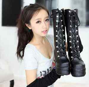 Womens Platform Lace Up Knee High Boots Cosplay Shoes Motorcycle Wedge Plus Sz