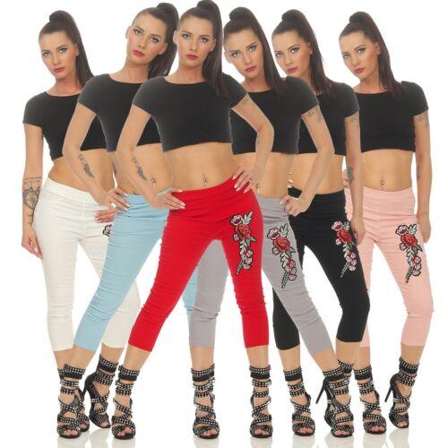 11347 Hautenge Damen Treggings Leggings Caprihose Pants Stretch-Hose Bestickt