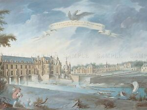 NICOLAS-MARIE-OZANNE-FRENCH-CHATEAU-CHENONCEAUX-OLD-ART-PAINTING-POSTER-BB4974A