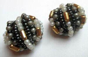 Livraison Rapide Boucles D'oreilles Clips Couleur Or Perles Gris Noir Doré Bijou Vintage 4478
