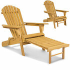 Outdoor Adirondack Wood Chair Foldable w/ Pull Out Ottoman Patio Deck Furniture