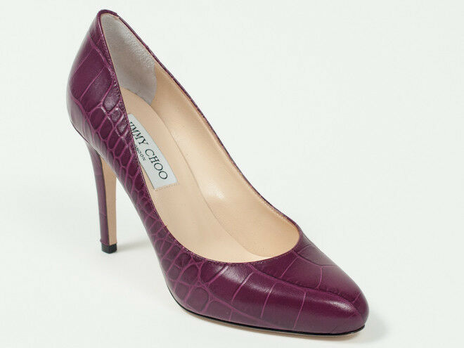 New  Jimmy Choo  Croc-Embossed Plum  Leather shoes Pumps 40  US 10
