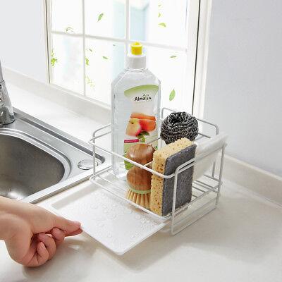 Double layer sponge holder kitchen sink organizer with drainer tray  Dishwasher | eBay