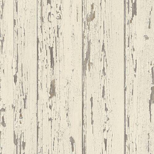 French Vanilla Shiplap Wallpaper Cream Brown Norwall Wallcovering FH37528