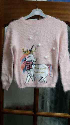 Primark Ragazza Unicorno Maglione Di Natale rosa edizione natalizia Morbido Comodo Soffice Nuovo con Etichetta
