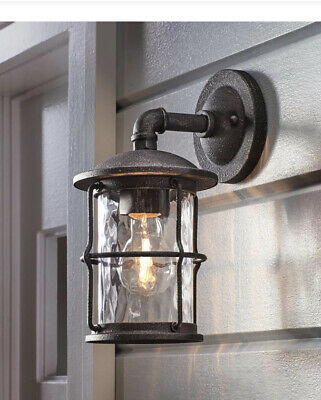 """Home Decorators Collection 1-Light Gilded Iron 12.4/"""" Outdoor Wall Mount Lantern"""