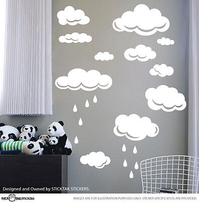 Large Clouds Children Nursery Vinyl Wall Decal Stickers Large Set