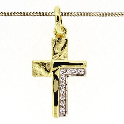 Baby Kinder Jugend Kreuz Anhänger Gold 333 Bicolor Mit Kette Silber Vergoldet
