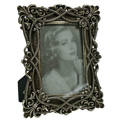6x BILDERRAHMEN ANTIK Silber Schwarz m Glasscheibe 10x15 Rahmen Fotorahmen