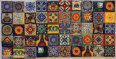 50 PCS  Mexican Talavera TILES 2x2 Clay Handmade Folk Art Assorted Designs